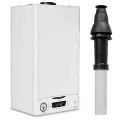 Ariston E-Combi ONE 24 Combi Boiler 3301131 with Vertical Flue Kit 3318080 and Vertical Starter 3318079