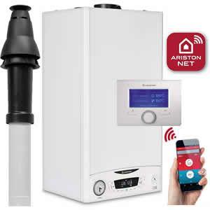 Ariston E-Combi ONE 24 Combi Boiler 3301131 with Vertical Flue Kit 3318080, Starter 3318079 and Sensys Net 3318991