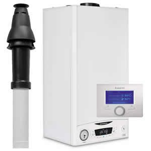 Ariston E-Combi ONE 30 Combi Boiler 3301132 with Vertical Flue Kit 3318080 , Starter 3318079 and Sensys 7 Day Programmer 3318585