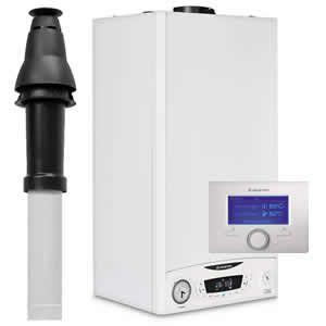 Ariston E-Combi ONE 24 Combi Boiler 3301131 with Vertical Flue Kit 3318080, Starter 3318079 and Sensys 7 Day Programmer 3318585