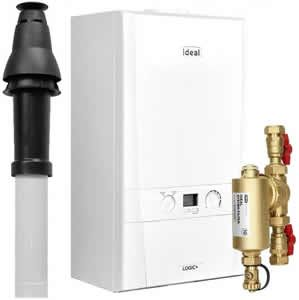 Ideal Logic Max 24 Combi Boiler 218872 with Vertical Flue Kit and Connector 211039