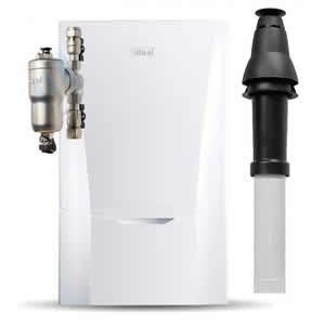 Ideal Vogue MAX 32 Combi Boiler 218857 with Vertical Flue Kit and Connector 211039