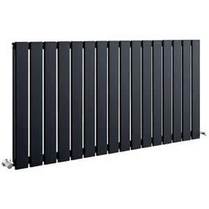 Sherlock Flat Steel Anthracite Horizontal Double Radiator 600mm High x 990mm wide
