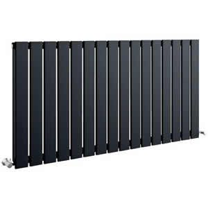 Sherlock Flat Steel Anthracite Horizontal Double Radiator 600mm High x 1218mm wide
