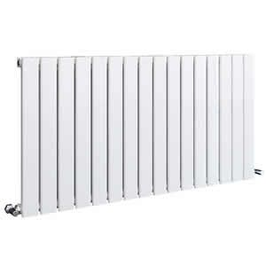 Sherlock Flat Steel White Horizontal Single Radiator 600mm High x 838mm wide