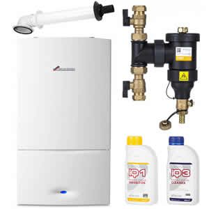 Worcester Greenstar 25i Combi Boiler 7733600012 with Telescopic Horizontal Flue Kit 7716191082 and Filter / Chemical Pack